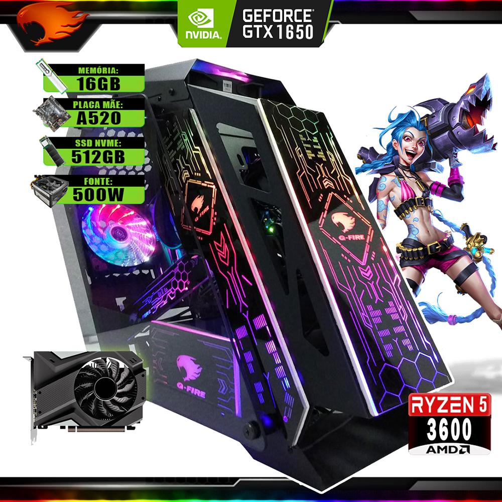 Pc Gamer G-Fire Htg-732 AMD Ryzen 5 3600 16Gb (GTX 1650 4Gb) SSD NVMe 512Gb 500W