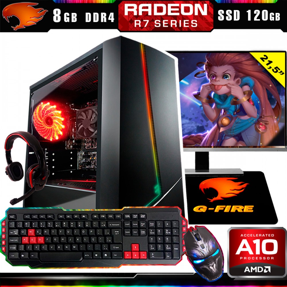 Pc Gamer Completo G-Fire Htg-433 AMD A10 9700 8Gb (Radeon R7 2Gb) SSD 120Gb Monitor 21,5