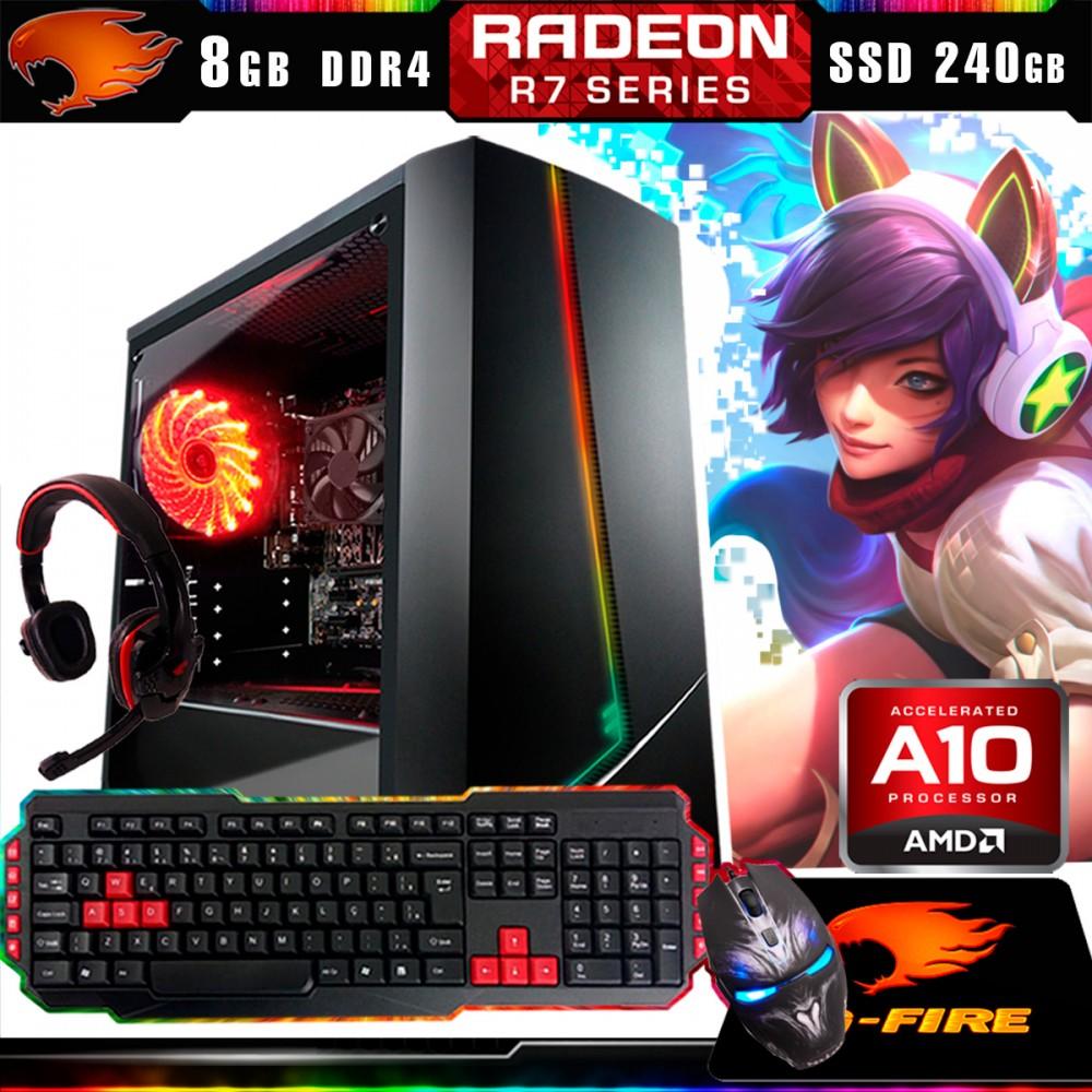 Pc Gamer Kit G-Fire Htg-435 AMD A10 9700 8Gb (Radeon R7 2Gb) SSD 240Gb