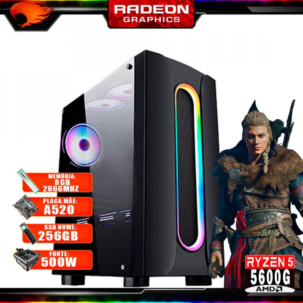 Pc Gamer G-Fire Htg-718 AMD Ryzen 5 5600G 8Gb (Radeon Graphics 2Gb) M.2 NVME 256Gb 500W
