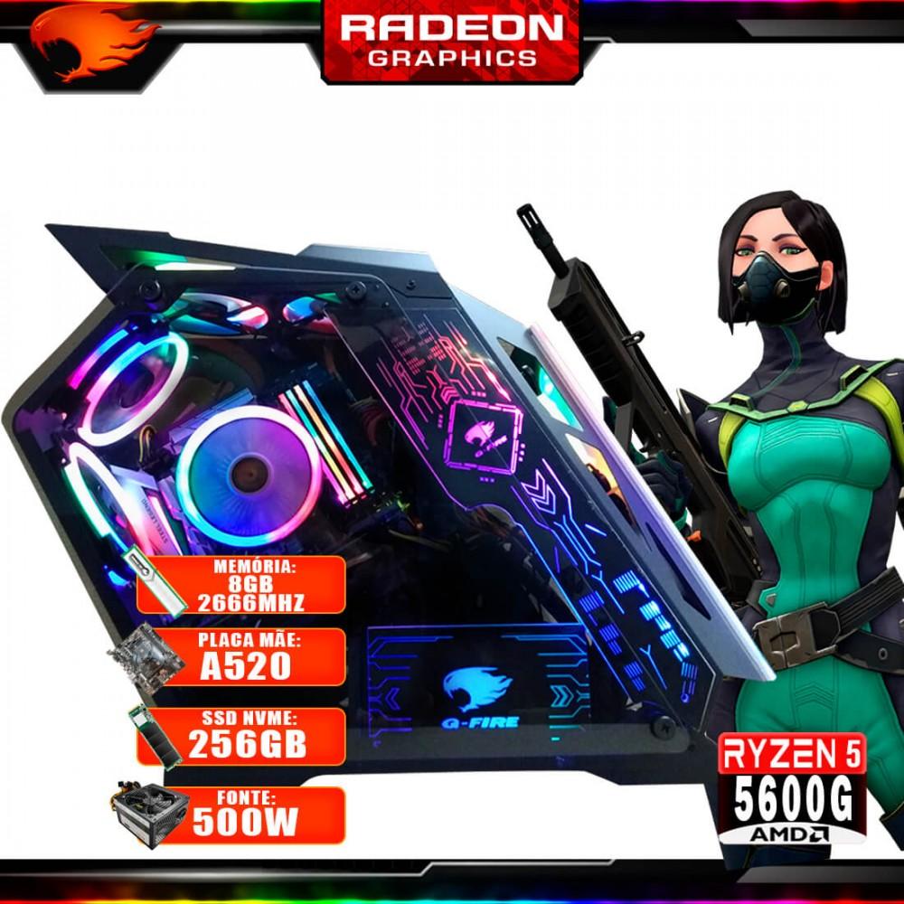 Pc Gamer G-Fire Htg-720 AMD Ryzen 5 5600G 8Gb (Radeon Graphics 2Gb) M.2 NVME 256Gb 500W