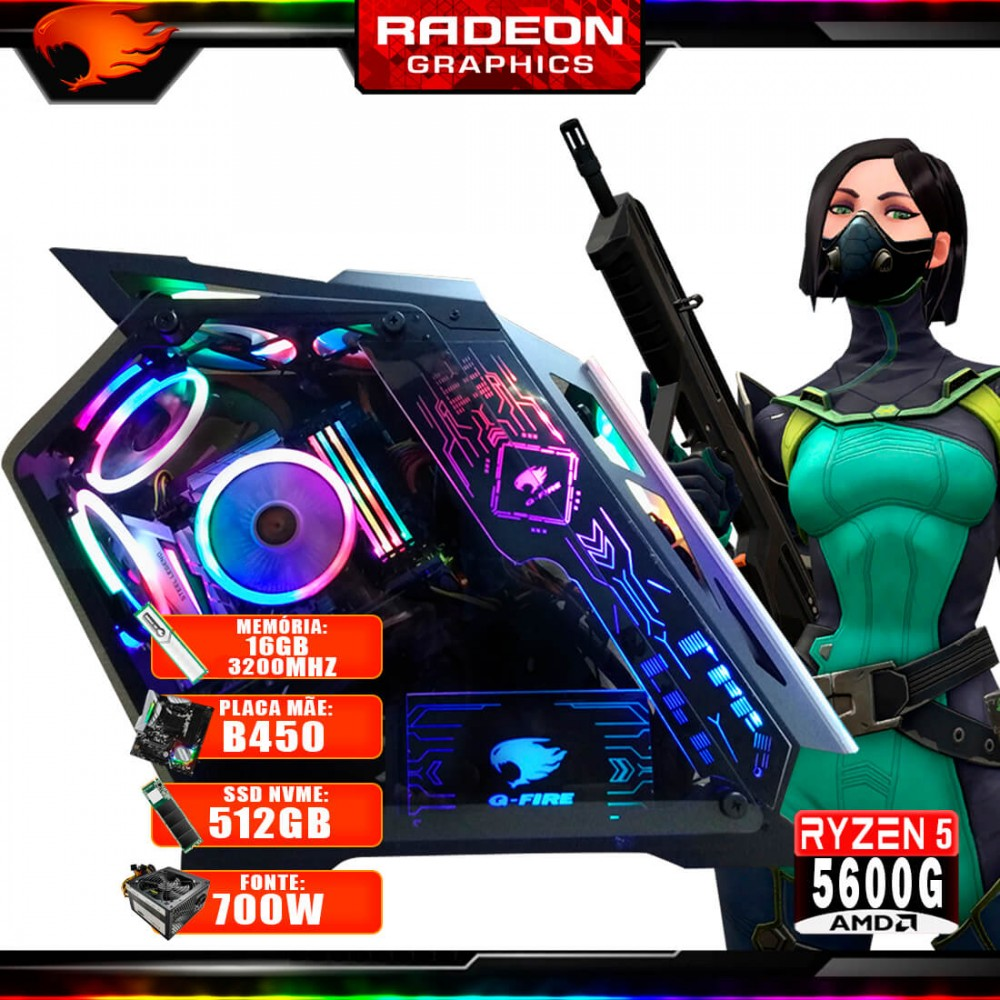 Pc Gamer G-Fire Htg-721 AMD Ryzen 5 5600G 16Gb (Radeon Graphics 2Gb) M.2 NVME 512Gb 700W