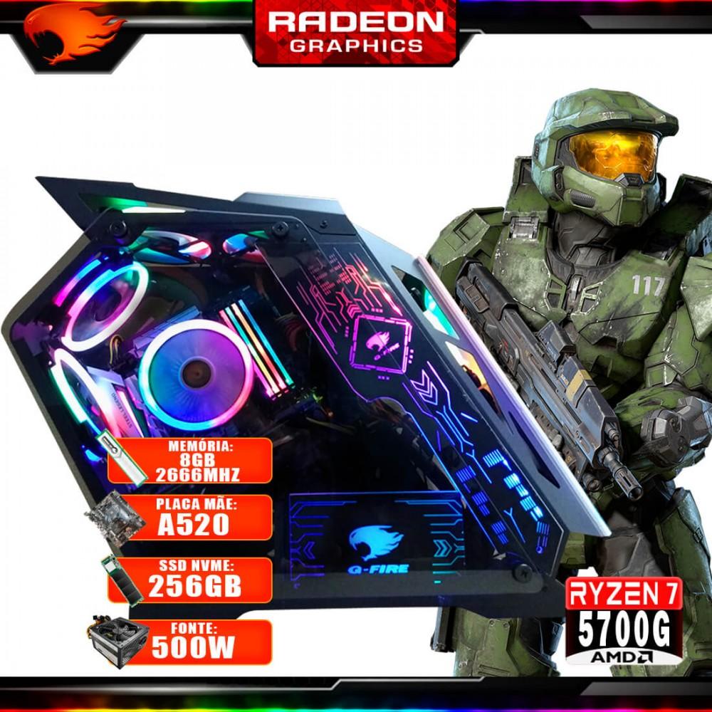 Pc Gamer G-Fire Htg-725 AMD Ryzen 7 5700G 8Gb (Radeon Graphics 2Gb) M.2 NVME 256Gb 500W