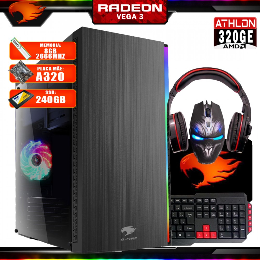 Pc Gamer G-Fire Com Kit Htg-728 AMD Athlon 320GE 8Gb (Vega 3 2Gb) SSD 240Gb