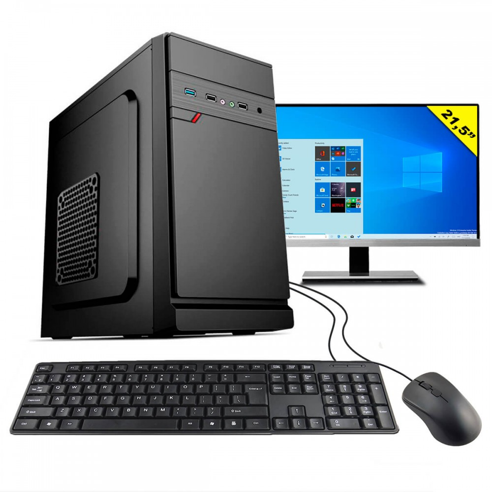 "Computador HomeTech Completo HTDW-192 AMD A6 9500E 3.4GHz (Radeon R5) 8Gb SSD 240Gb 21,5"" Windows 10"