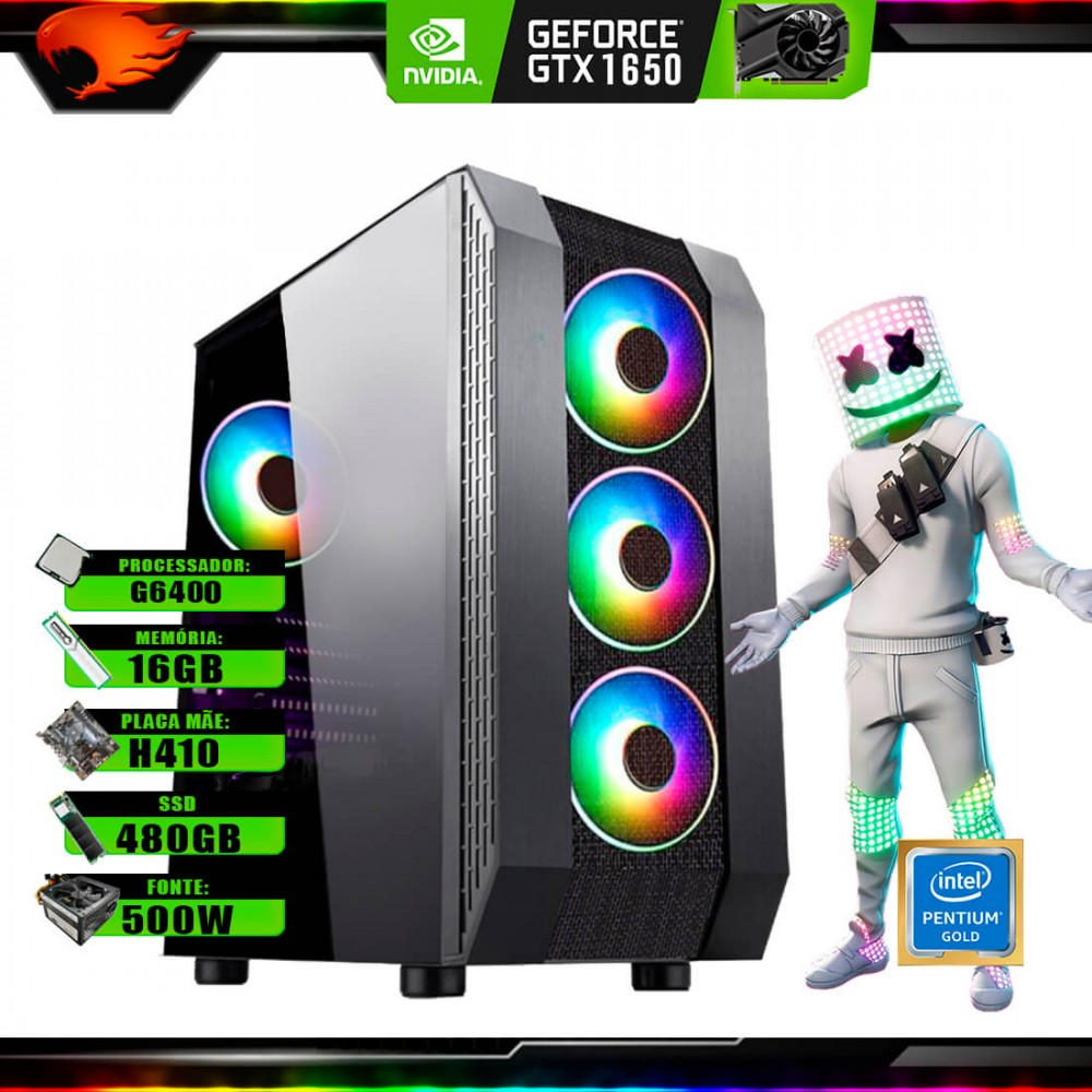 Pc Gamer G-Fire Htg-741 Intel G6400 16Gb (GTX 1650 4Gb) SSD 480Gb 500W