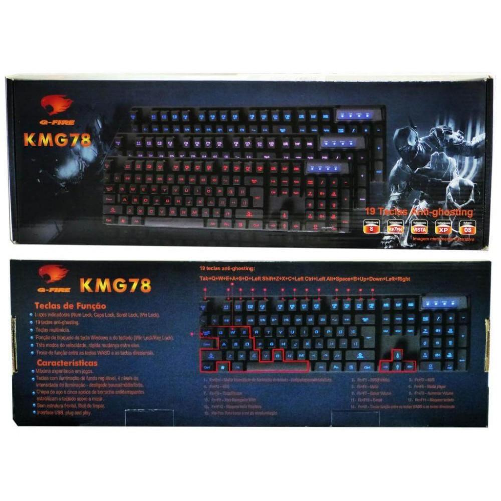 Teclado Gamer G-Fire Kmg78Pugsb - Com Backlight